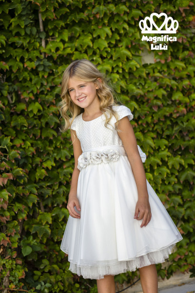 vestido niña con cancan lazo