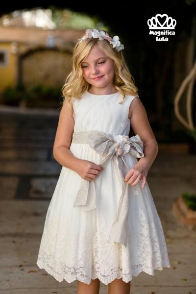 vestido gran lazo encaje niña