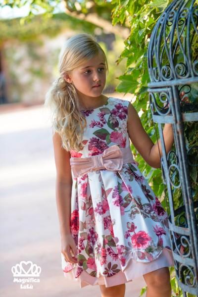 vestido flores precioso ceremonia lazo rosa
